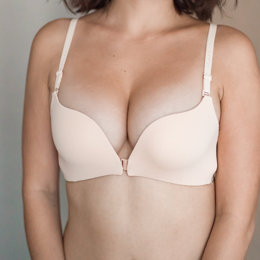 Perfect Mesh Push Up Wireless Front Clasps Bra in Nude