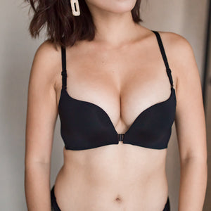 Perfect Mesh Push Up Wireless Front Clasps Bra in Black