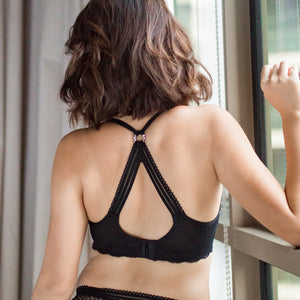 Perfect Gem Racerback Push Up Wireless Front Clasps Bra in Black