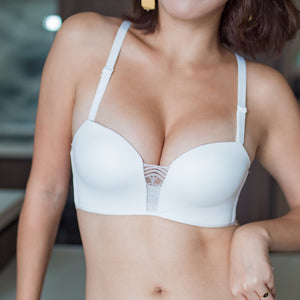 Perfect Glam Push Up Wireless Bra in White