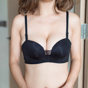 Perfect Glam Push Up Wireless Bra in Black