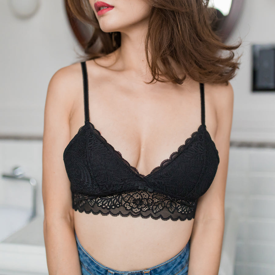 *RESTOCKED* All-Day Cupid Lashes Midi Bralette in Black