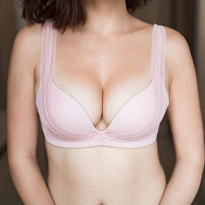 Perky Lacey Push Up Wireless Bra in Rose (Size L & XL Only)