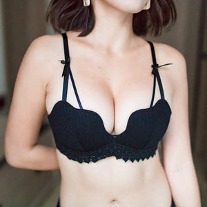 Scallop Lacey Super Push Up Wireless Bra in Black