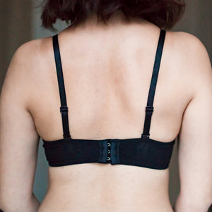 Scallop Lacey Super Push Up Wireless Bra in Black (Size S ,L, XL Only)