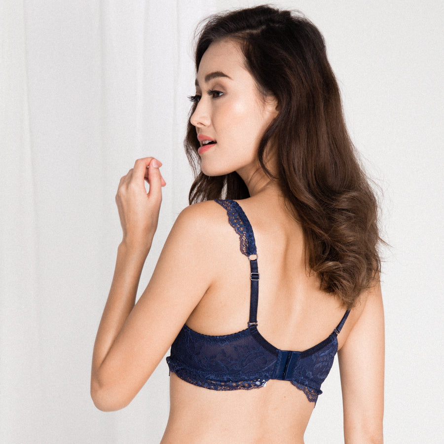 *RESTOCKED* Captivated with Lace Wireless Everyday T-Shirt Midi Bra in Midnight Blue (Size S & L ONLY)