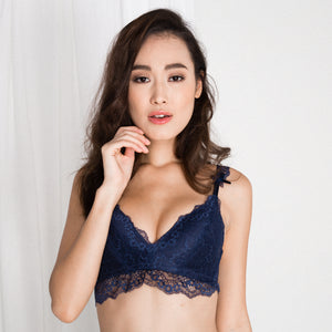 *RESTOCKED* Captivated with Lace Wireless Everyday T-Shirt Midi Bra in Midnight Blue