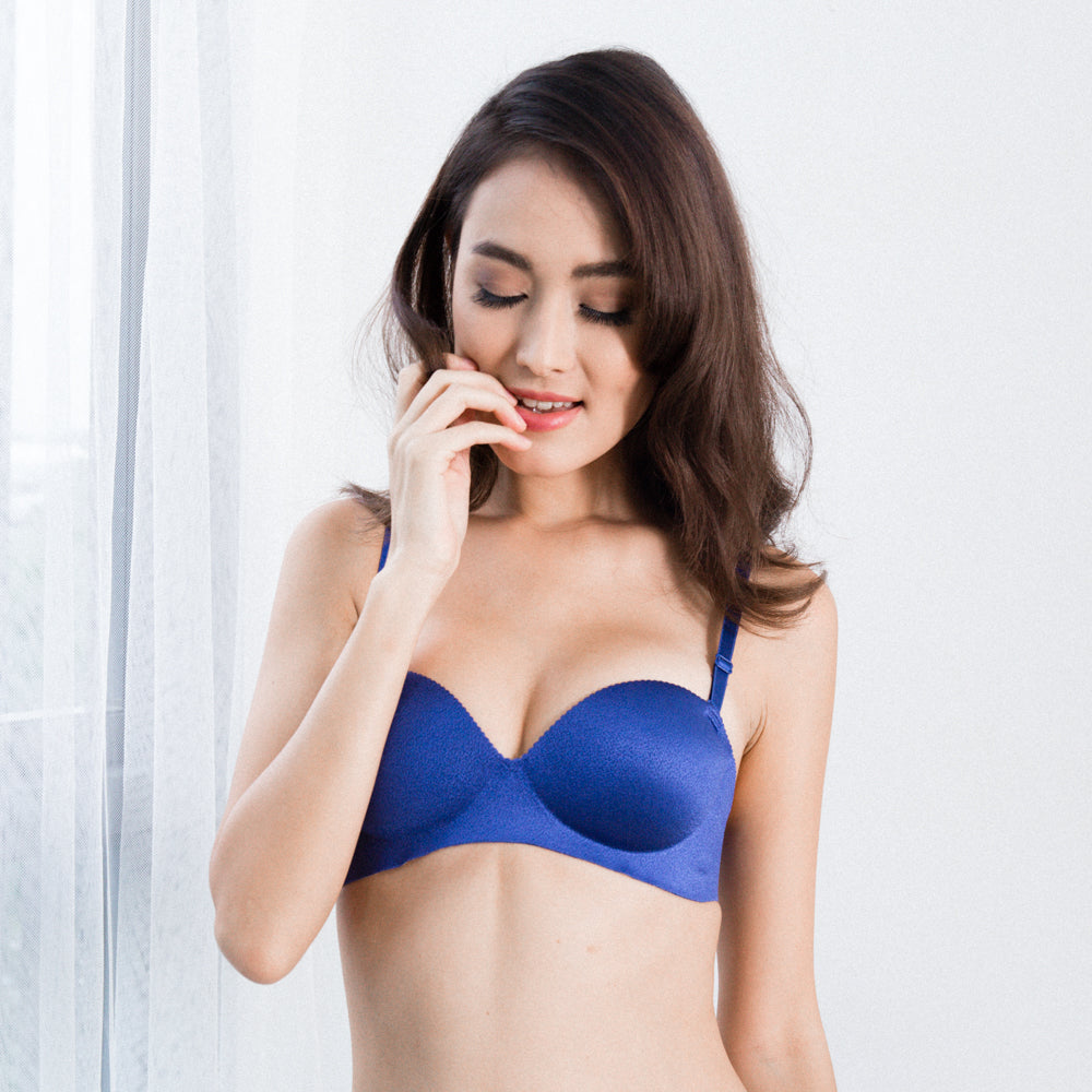 9cc36a44e58cd 2-Way Wireless Super Push Up Strapless Bra in Royal Blue - I M IN - i m i n  x x . c o m