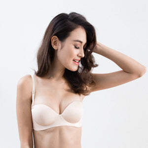 *RESTOCKED* Oomph! 2-Way Wireless Super Push Up Strapless Bra in Nude
