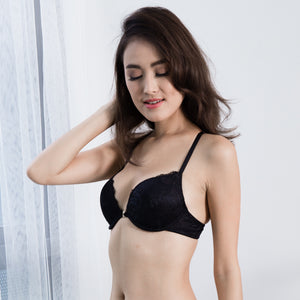 Oh-So-Charmed Front Clasps Push Up Bra in Black
