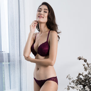 Oh-So-Charmed Front Clasps Push Up Bra in Burgundy (Size S & M Only)