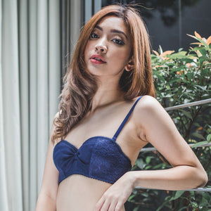 *RESTOCKED* Dazzling Beyond Words 2-Way Push Up Bandeau Strapless Bra in Midnight Blue