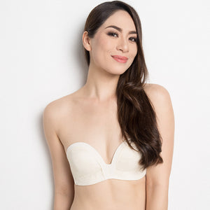 *RESTOCKED* Non-Slip Strapless Everyday Bra (Luxe Milk-White With Lace) (Size 36A Only)