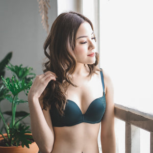 Moonstruck Wireless Push Up Bra in Olive
