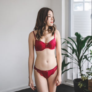 Cross My Heart Super Push Up Bra in Spicy Red