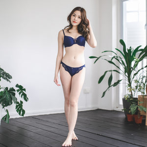 Cross My Heart Super Push Up Bra in Midnight Blue