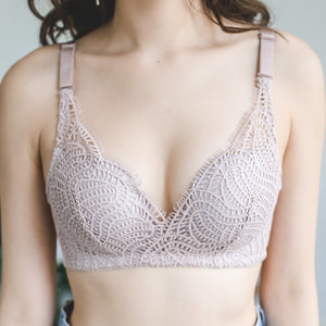 Rustic Beauty Wireless Super Push Up Bra in Dusty Pink