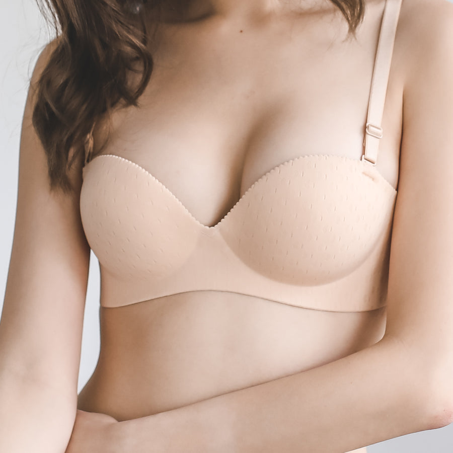 *RESTOCKED* Oomph! Matte 2-Way Wireless Super Push Up Bra in Vanilla Nude