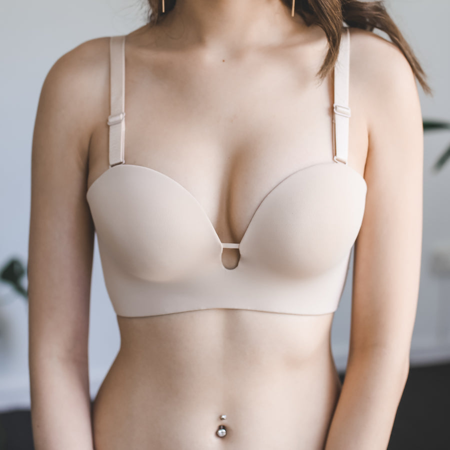 Perk It Up! 2-Way Wireless Super Push Up Bra in Matte Nude (L ONLY)
