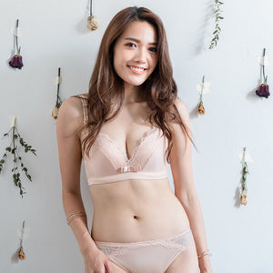 Comfort Satin Wireless Push Up T-Shirt Bra in Nude