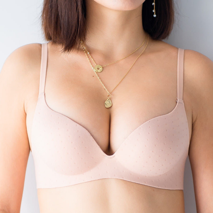 *RESTOCKED* OOMPH! Velvet-Matte Teardrop 2-Way Wireless Push Up Bra in Muted Nude