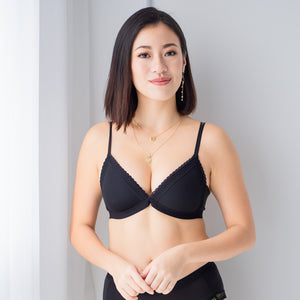 Simply Lace Wireless Bra in Black