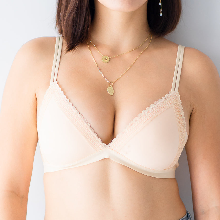 Simply Lace Wireless Bra in Nude