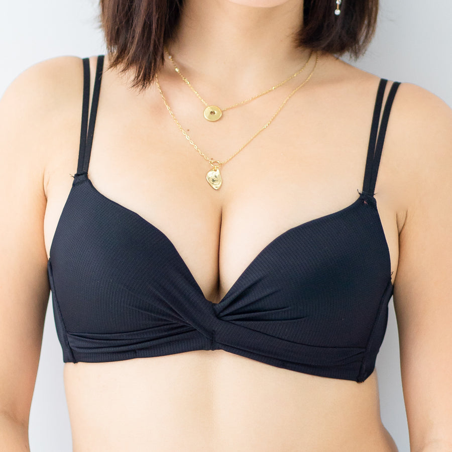Lovely Bow Push Up Wireless Bra in Black