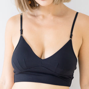 Everyday Ribbed Low-Back Midi Bralette in Black