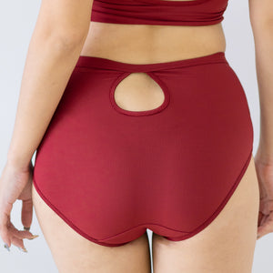 Everyday Ribbed High Waisted Cheeky in Wine
