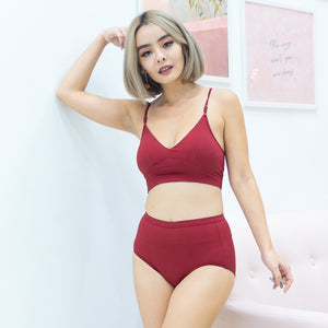 Everyday Ribbed Low-Back Midi Bralette in Wine