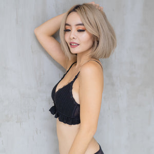 Full of Ruffles Wireless Bra in Black