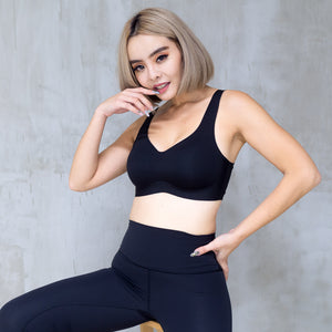 *RESTOCKED* Air-ee Seamless Bra in Black - Thick Straps (Superfine Cotton)