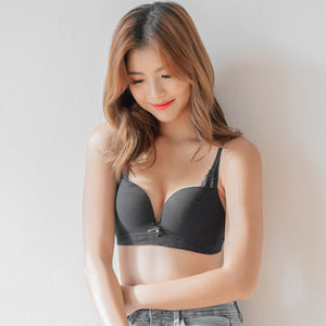 Fluffy Soft Cotton Lace Trimmed Wireless Bra in Black