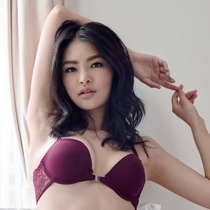 Glam Goddess Front Clasps Bra in Burgundy (34B ONLY)