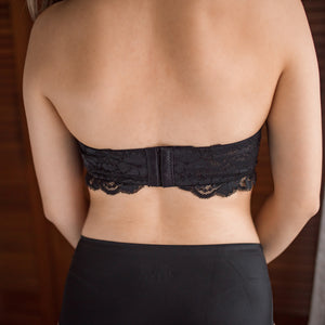 Oh-So-Sweet 2-Way Super Push Up Wireless Bandeau Strapless Bra in Black