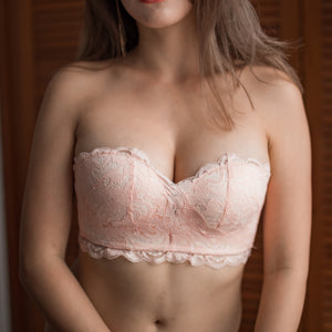 Oh-So-Sweet 2-Way Super Push Up Wireless Bandeau Strapless Bra in Nude