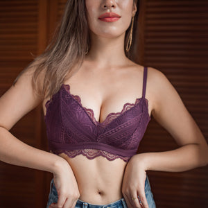 No-Wire Everyday Essential Full Lace Bra in Maroon
