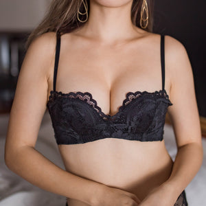 Allure Beauty Wireless Super Push Up Bra in Black Beauty