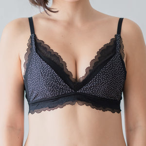 You Glow! Mini Polka Dots Bralette in Black