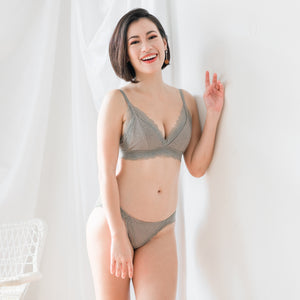 You Glow! Mini Polka Dots Bralette in Grey