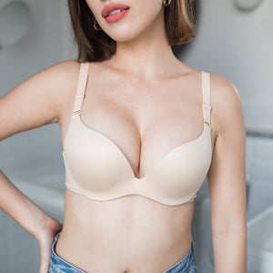 Perfect Shape! Seamless Wireless Push Up Bra in Nude