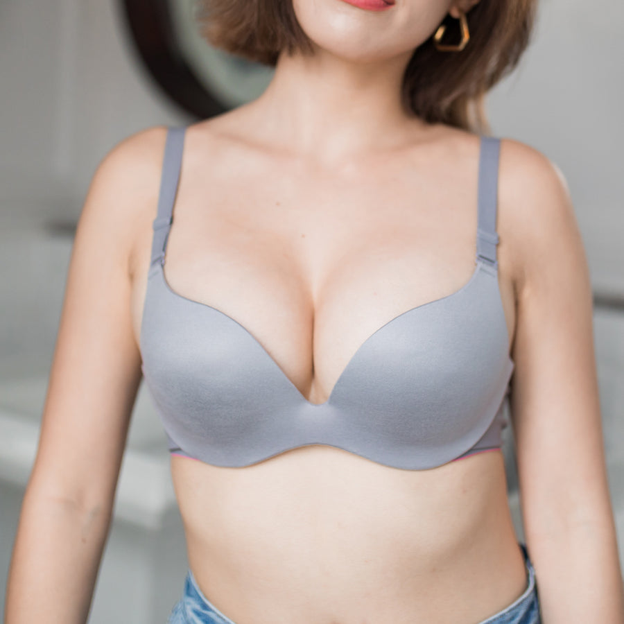 Perfect Shape! Seamless Wireless Push Up Bra in Ash