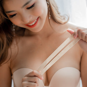 *RESTOCKED* LIFT IT UP! 100% Non-Slip Super Push Up Strapless Wireless Bra in Nude