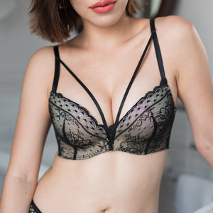 Saturday Lacey Wireless Push Up Bra in Twirl Black