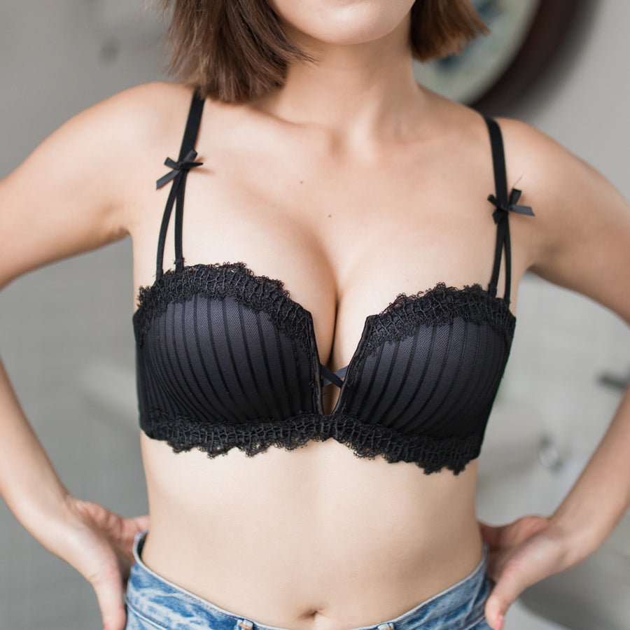 Everything Lacey Wireless Super Push Up Bra in Black