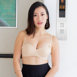 Ooom-pha-licous Scallop 2-Way Wireless Super Push Up Bra in Nude