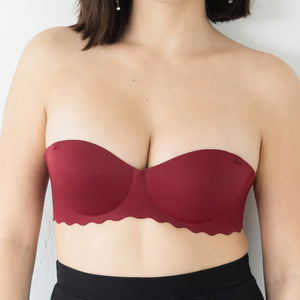 Ooom-pha-licous Scallop 2-Way Wireless Super Push Up Bra in Red