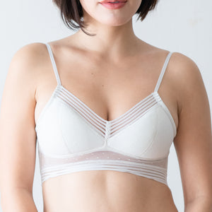 Low Cut U-Back Polka Dot Midi Bralette in White