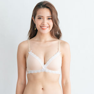 Ultra Comfy Lace Trim Wireless T-Shirt Bra in Beige (Size L only)